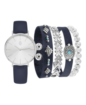 Women's Analog Navy Strap Watch 36mm with Navy and Silver-Tone Bracelets Set