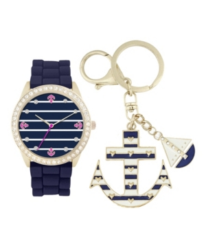 Women's Analog Navy Sailor Strap Watch 34mm with Anchor and Boat Key Chain Cubic Zirconia Gift Set