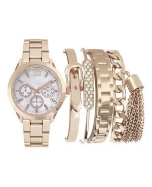 Women's Analog Rose Gold-Toned Strap Watch 36mm with Stackable Bracelets Cubic Zirconia Gift Set