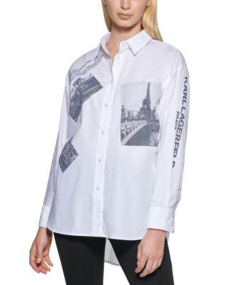 Karl Lagerfield Paris Cotton Poplin Paris-Pring Shirt
