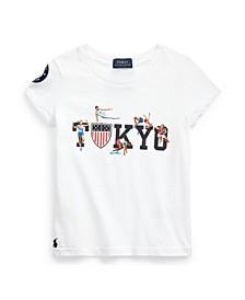 Toddler, Little and Big Girls Team USA Cotton T-Shirt