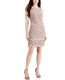 Sequinned Lace Tiered-Hem Sheath Dress