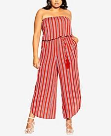 Plus Size Summer Stripe Jumpsuit