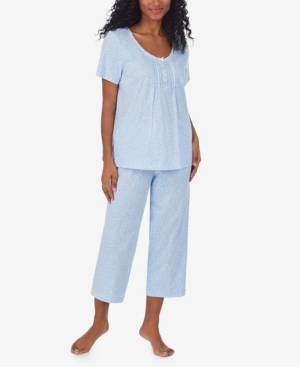 Women's Short Sleeve Capri Pajama Set, 2 Piece
