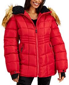 Juniors' Faux-Fur-Trim Hooded Puffer Coat, Created for Macy's