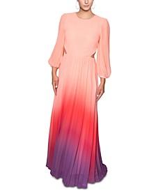Ombré Chiffon Side-Cutout Maxi Dress