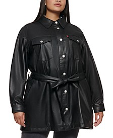Trendy Plus Size Belted Jacket
