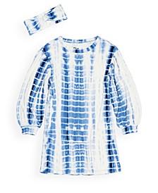 Toddler Girls Long Sleeve Tie Dye Shirt Dress with Matching Headband