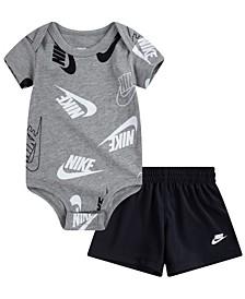 Baby Boys Just Do It Confetti Bodysuit Short, 2 Piece Set