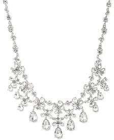 """Crystal Floral Bib Necklace, 16"""" + 3"""" extender"""