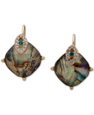 Gold-Tone Crystal Evil Eye & Abalone Drop Earrings