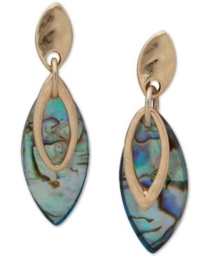 Gold-Tone & Abalone Double-Row Navette Drop Earrings
