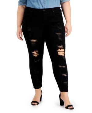 Trendy Plus Size Distressed Skinny Jeans