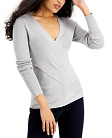 Solid Ribbed Surplice Sweater, Created for Macy's