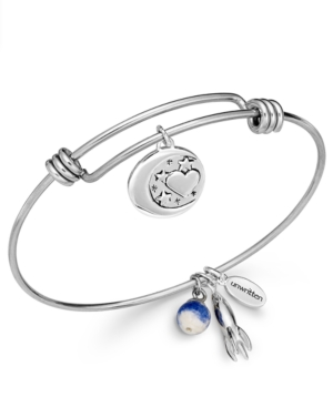 Unwritten Love Charm and Sodalite (8mm) Bangle Bracelet in Stainless Steel