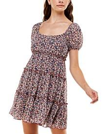 Juniors' Emma Puff-Sleeve Tiered Dress