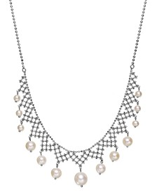 Pearl Lace By EFFY® Cultured Freshwater Pearl Necklace in Sterling Silver (4-1/2mm-8-1/2mm)