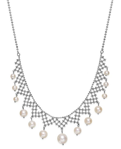 Macy S Pearl Lace By Effy Cultured Freshwater Pearl Necklace