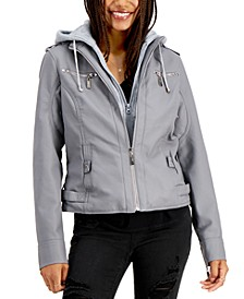 Juniors' Hooded Faux-Leather Moto Jacket