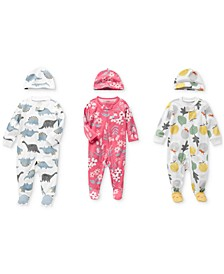 Baby Girls & Boys Printed Cotton Coverall & Cap Set Separates