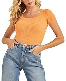 Ribbed Short-Sleeve Sweater