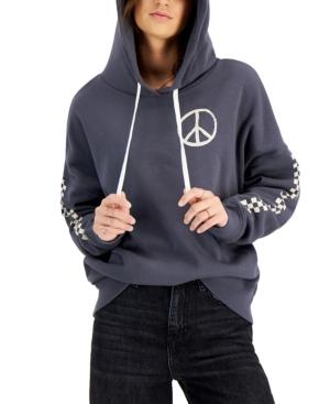 Juniors' Peace Checkered Hoodie