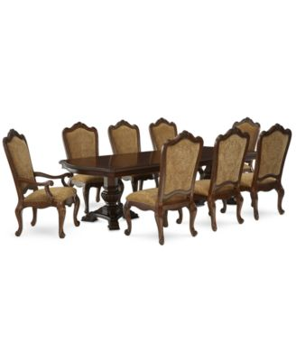 Lakewood 9 Piece Dining Room Furniture Set, (Double Pedestal Dining Table, 6