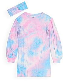 Big Girls Long Sleeve Tie Dye Shirt Dress with Matching Headband Set, Created for Macy's