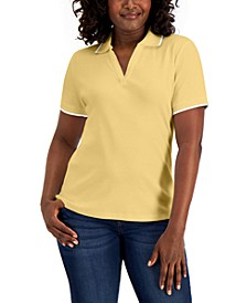Petite Cotton Polo Top, Created for Macy's