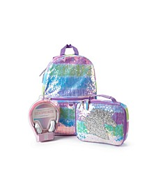 Big Girls Unicorn Backpack with Headphone and Lunch Box 3 Piece Set