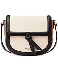 Knott Colorblocked Leather Saddle Bag