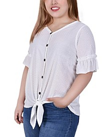 Plus Size Short Ruffle Sleeve Button and Tie Front Blouse