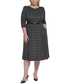 Plus Size Belted Ponté-Knit Dress