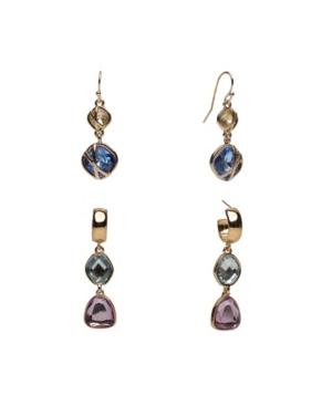 Duo Stud and Drop Earrings Set