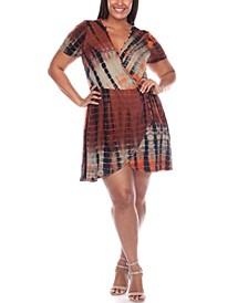 Plus Size Tie Dye Print V-Neck Wrap Dress