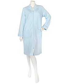 Embroidery-Trim Quilted Zip-Up Robe