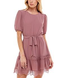 Juniors' Belted Lace-Trim Dress