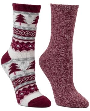 Women's 2-Pk. Pine Tree Fair Isle Boot Crew Socks
