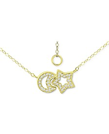 """Cubic Zirconia Moon & Star Pendant Necklace, 16"""" + 2"""" extender, Created for Macy's"""