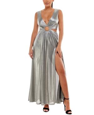 Ring-Front Lame Cutout Maxi Dress