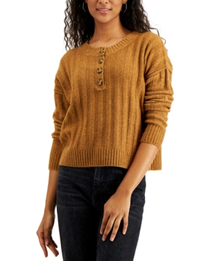 Juniors' Ribbed Henley Sweater