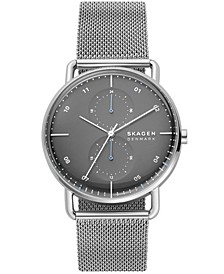 Men's Horizont Dual Time Silver-Tone Steel-Mesh Bracelet Watch 42mm