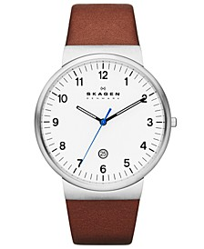 Men's Brown Leather Strap Watch 40mm SKW6082
