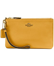 Small Wristlet in Polished Pebble Leather