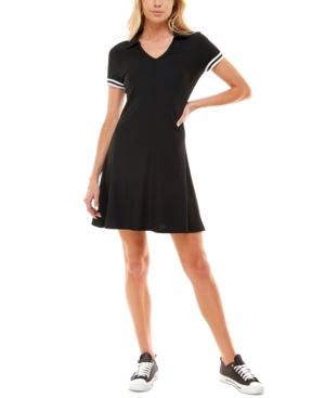 Juniors' Johnny-Collar Fit & Flare Dress