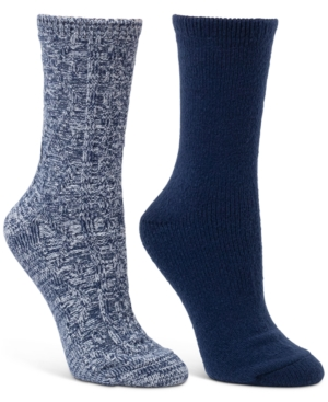2-Pk. Diamond Cable & Solid Crew Boot Socks