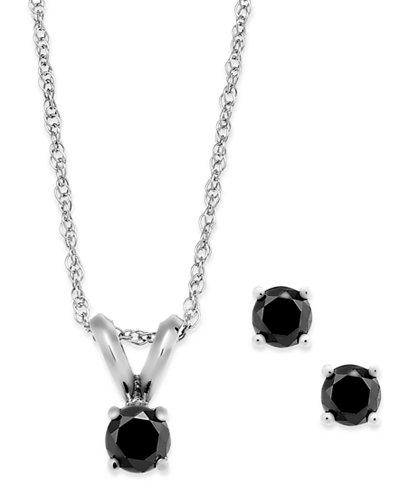 Black Diamond Jewelry Set in 10k White Gold (1/5 ct. t.w.)