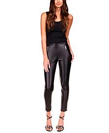 Faux-Leather-Front Leggings