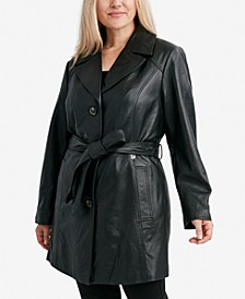 Plus Size Leather Belted Trench Coat