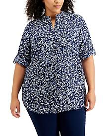 Plus Size Printed Roll-Tab-Sleeves Shirt